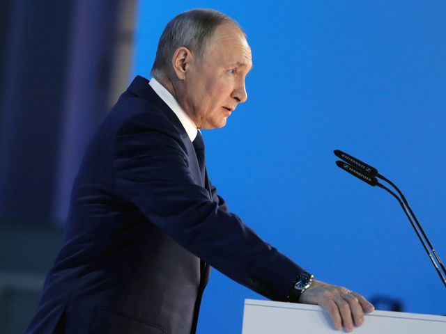 Russian President Vladimir Putin delivers his State of the Union address on Wednesday.