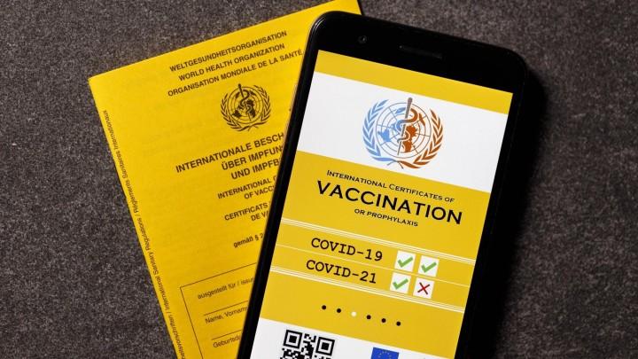 Eine mögliche Visualisierung des geplanten digitalen Impfpass liegt neben einem analogen Impfpass. (imago / Future Image / C. Hardt)