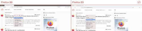 Firefox 89 Proton-Design