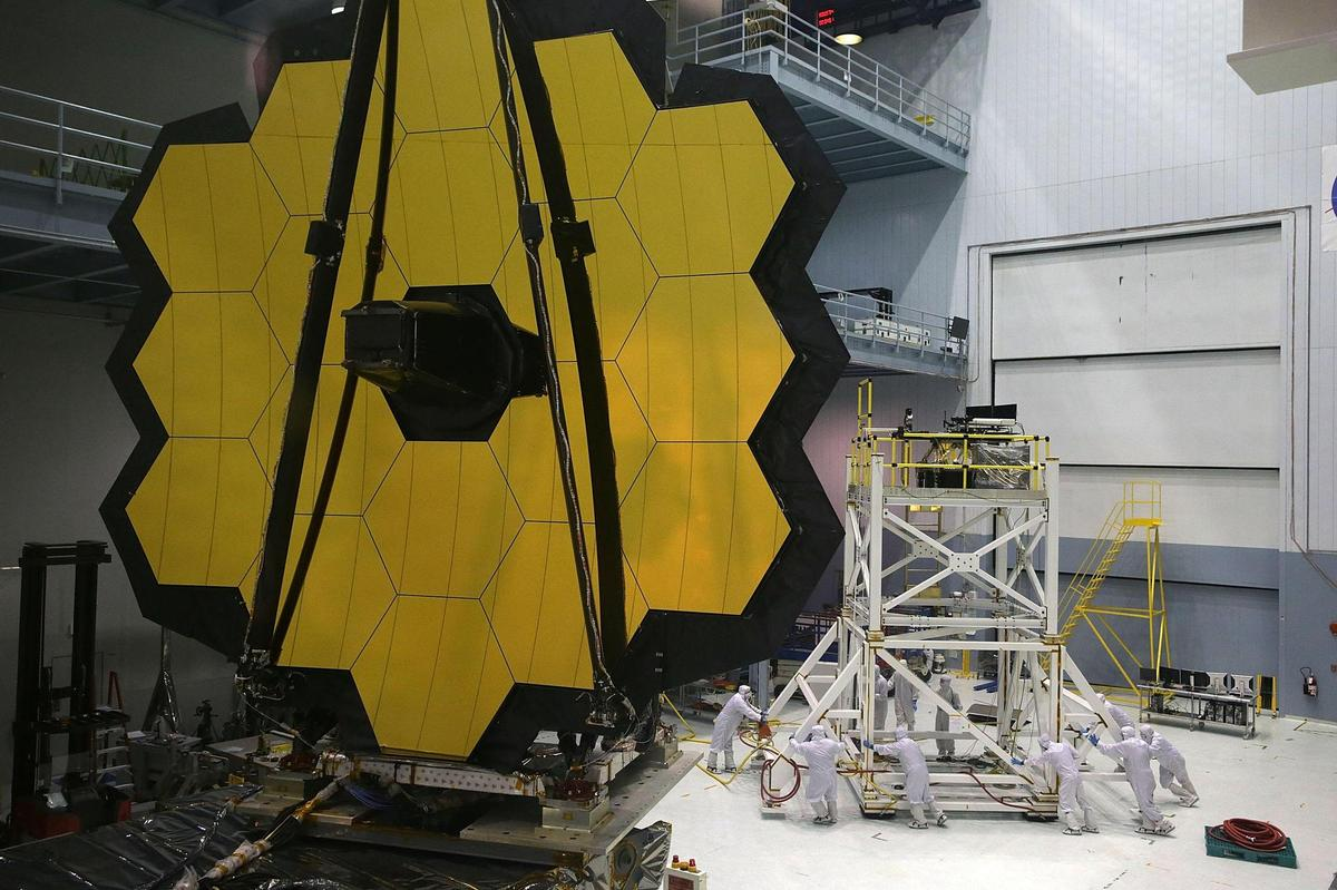 It's really yellow: Engineers and technicians assemble the James Webb Space Telescope at NASA's Goddard Space Flight Center in Greenbelt, Maryland.