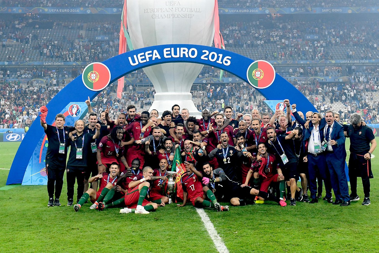 Portugal with the cup after winning the European Championship in 2016