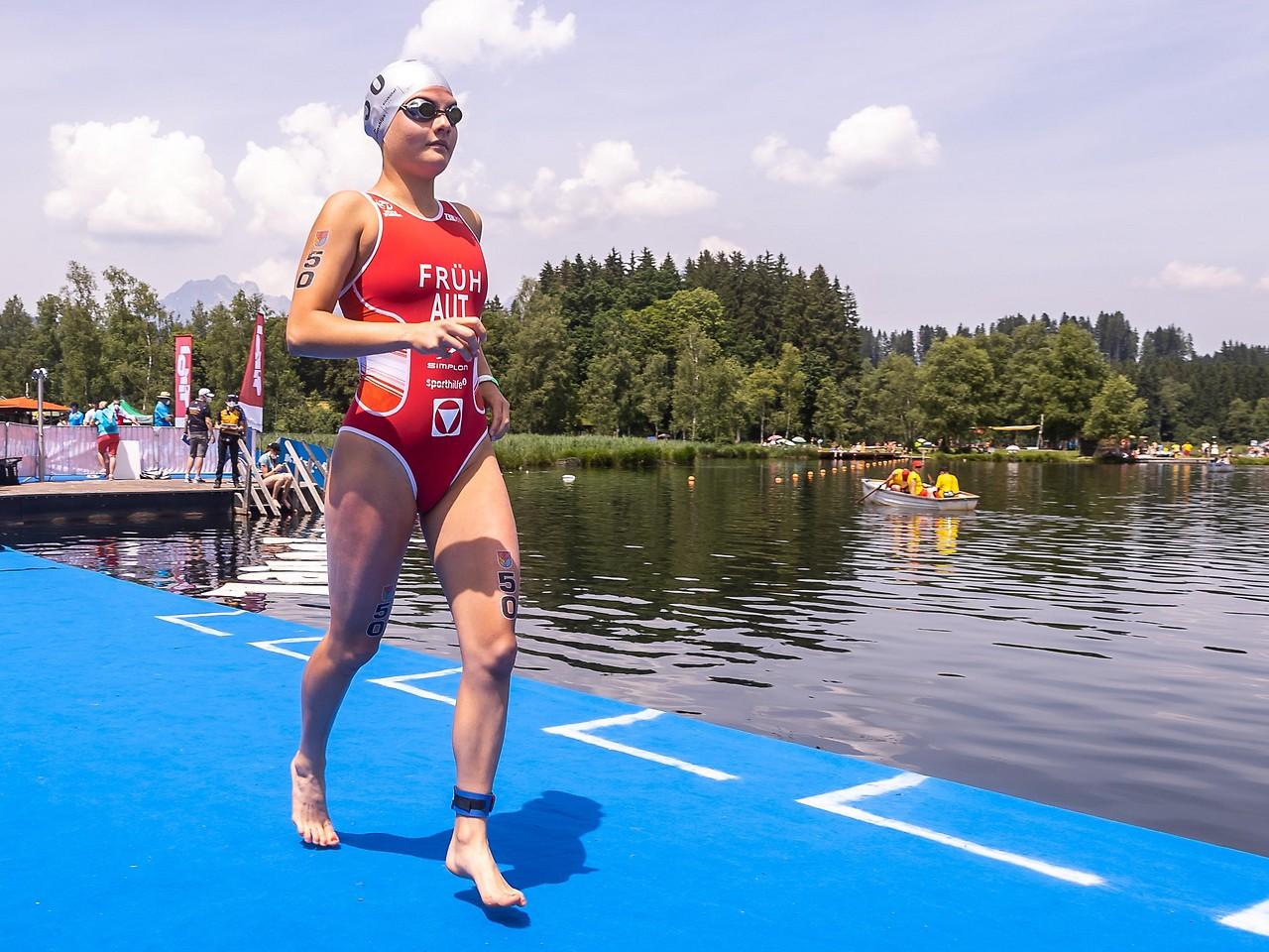 Magdalena Fruh in the triathlon in Kitzbühel