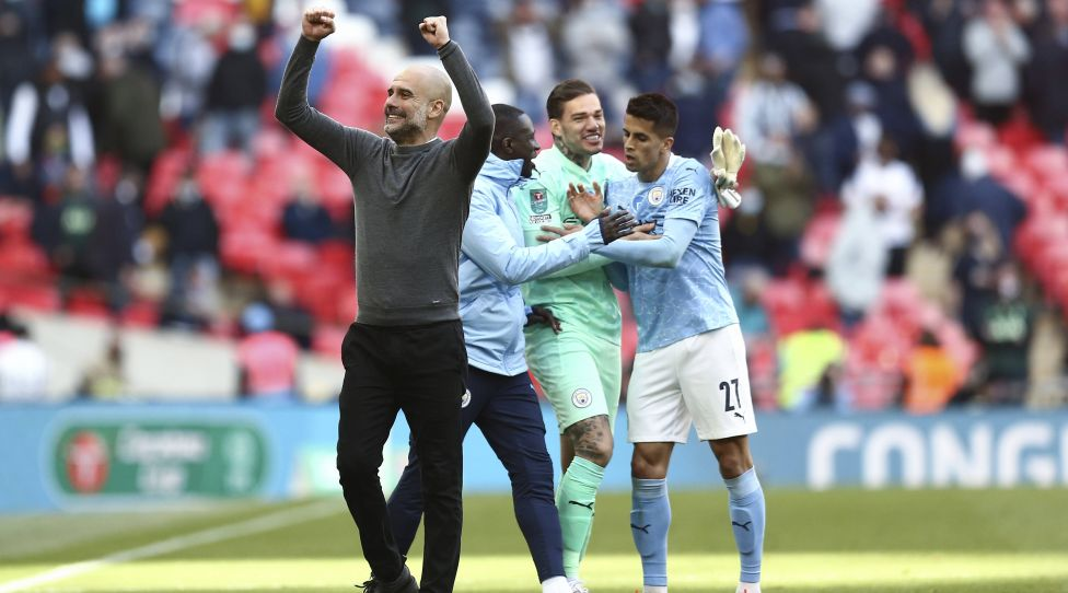 Mandatory credit: Photo by Michael Zimanek/BPI/Shutterstock 11872513cf Pep Guardiola, Manchester City manager, celebrates full-time after winning the Carabao Cup for the fourth time in a row, Manchester City against Tottenham Hotspur, Carabao Cup, Final, Football, Wembley Stadium, London , UK - 25 Apr 2021 Editorial use only No use with unauthorized audio, video, data, fixture lists, club/league logos or live services.  Usage during the online match is limited to 120 images, no video simulation.  No interest in betting, games or individual club/league/player posts.  Manchester City - Tottenham Hotspur, Carabao Cup, Final, Football, Wembley Stadium, London, UK - April 25, 2021 Editorial use only No use with unauthorized audio, video, data, fixture lists, club/league logos or services live.  Usage during the online match is limited to 120 images, no video simulation.  No interest in betting, games or individual club/league/player posts.  Publishing xINxGERxSUIxAUTXHUNxGRExMLTxCYPxROMxBULxUAExKSAxONLY Copyright: xMichaelxZemanek / BPI / Shutterstockx 11872513cf