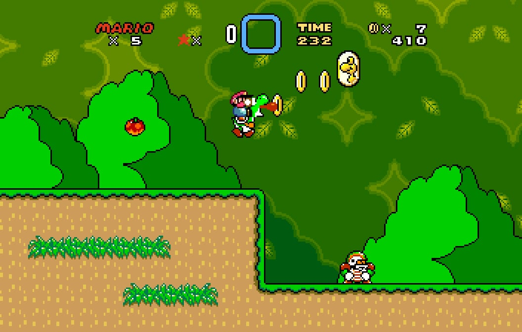 Yoshi's ride through the 16:10 landscape from Super Mario World feels like it was once again.  - Only better.  © Nintendo