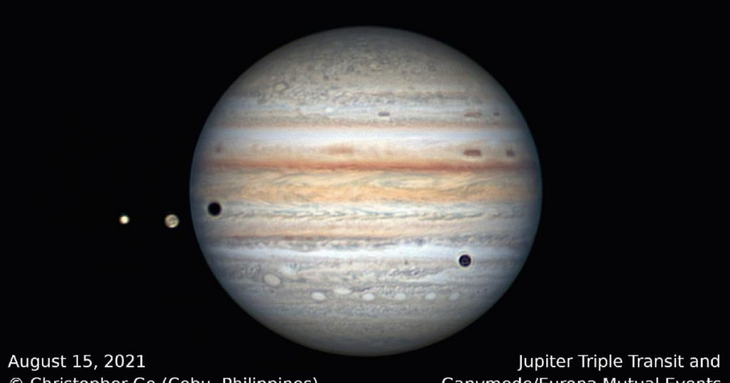 Video showing a triple solar eclipse on Jupiter