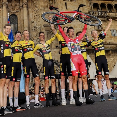 """picture of text """"Roglic showed no mercy with Mass in his third victory at the Vuelta"""""""