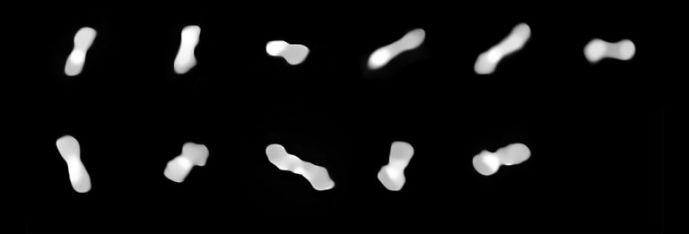 The asteroid Cleopatra is shaped like a dog bone.  As it rotates, the images of the VLT, taken over the course of two years, show it from different perspectives.  Photo: eso