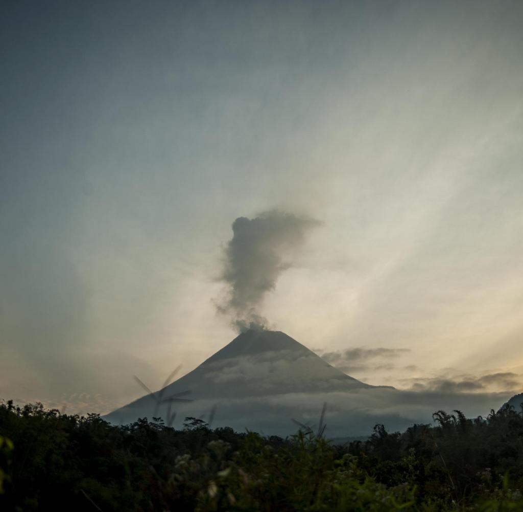 Smoke clouds over Merapi volcano in Indonesia