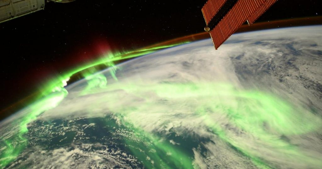 Great image from the International Space Station: Earth glowing green