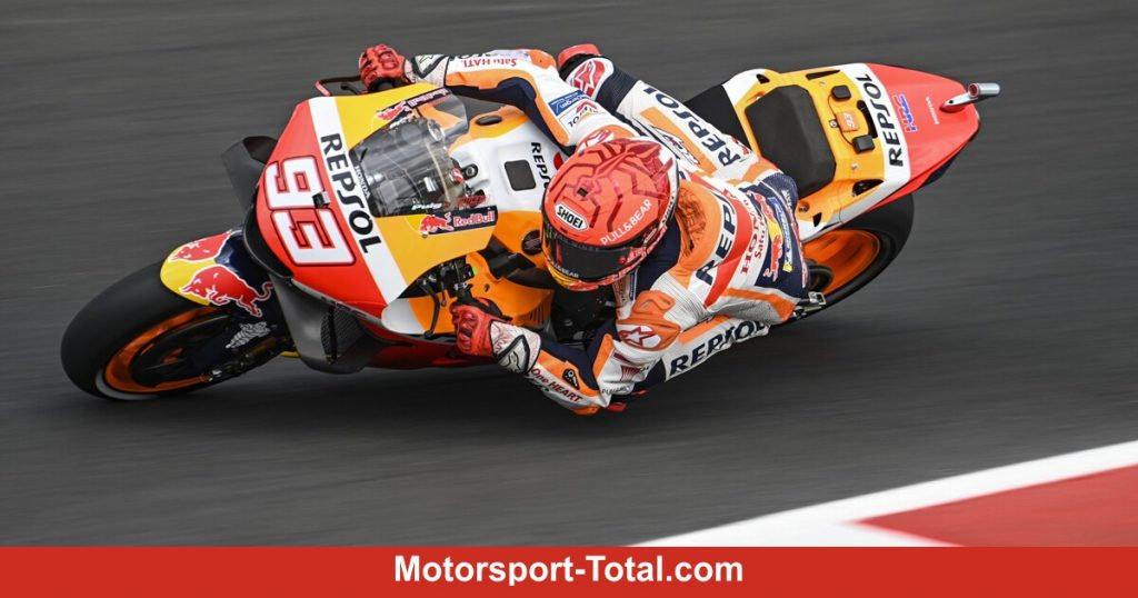Marc Marquez after a crash in Q1