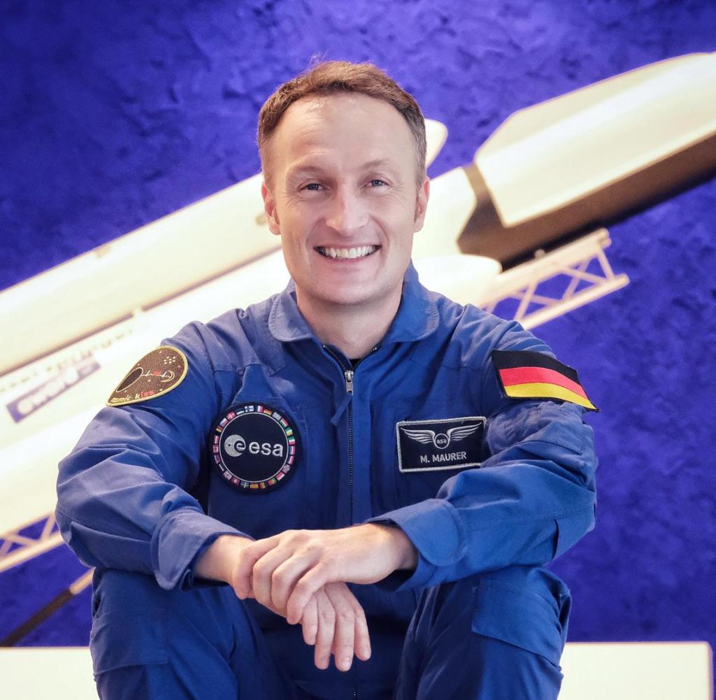 ESA astronaut Matthias Maurer - captured here in front of an Elon Musk rocket in the lobby of the new Axel Springer Building in Berlin